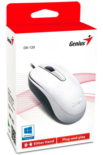 mouse genius dx-120 optico 1000dpi usb alambrico blanco