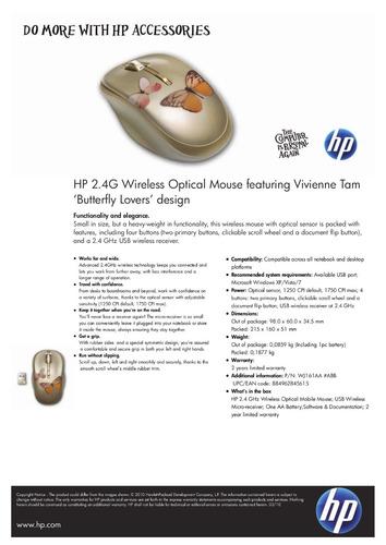 8a86d23169f Mouse Hp Wireless Vivianne Tam Butterfly Lovers Wj161aa - $ 1.300,00 ...