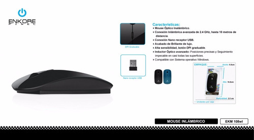mouse inalambrico enkore pixel azul usb 2.4ghz slim tipo mac