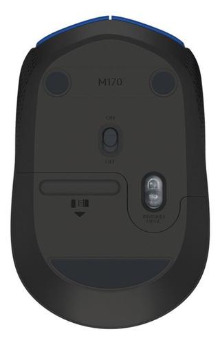 mouse inalámbrico logitech m170 azul y negro