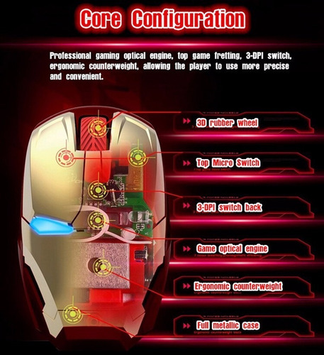 mouse inalambrico optico gaming 1600dpi iron man pc gamer