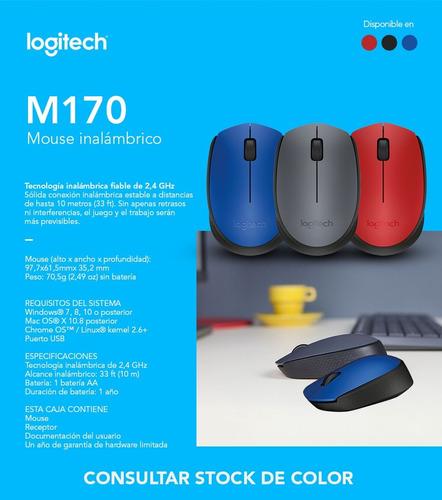 mouse inalambrico usb logitech m170 colores ambidiestro