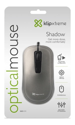 mouse klip xtreme shadow usb - negro 1600dpi (kmo-111)