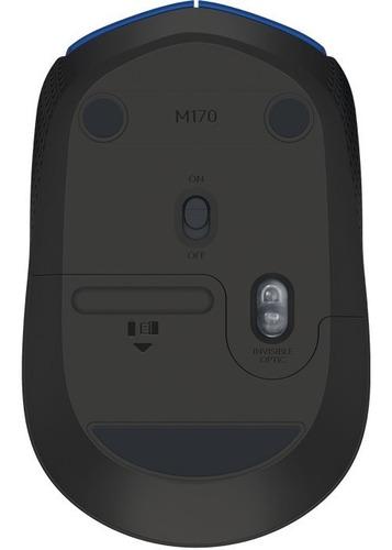mouse logitech m170 color gris/azul/rojo wirelees