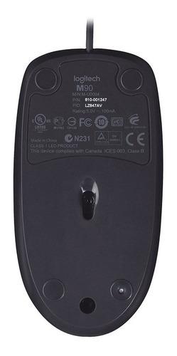 mouse logitech m90 optico usb preto com fio
