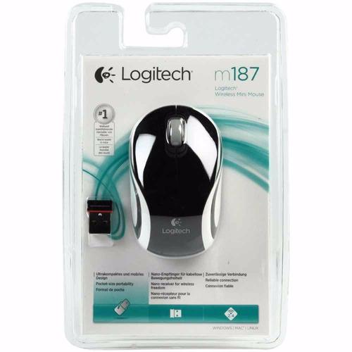 mouse logitech wireless m187 black receptor nano smal lan