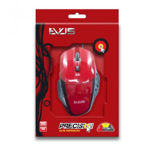 mouse óptico gamer evus precision vermelho usb 1.600dpi mode