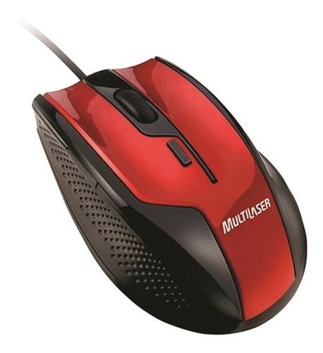 mouse óptico gamer fire 1600dpi,usb,preto e vermelho multila