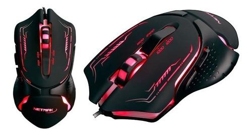 mouse optico gamer usb netmak 2400dpi retroiluminado nm-fury