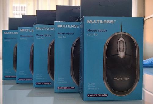 mouse óptico multilaser mo179 c/ fio - 1200dpi usb 3 botões