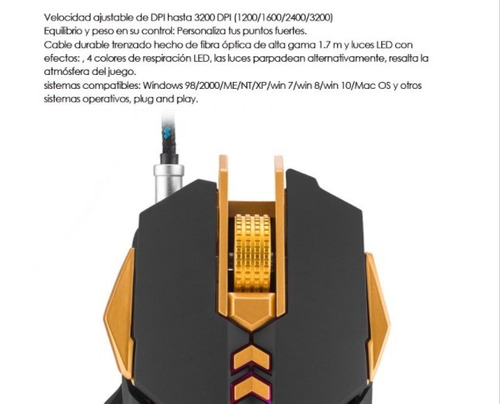 mouse óptico para gamers combaterwing cw50