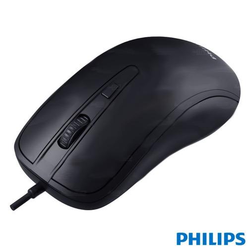 mouse óptico philips original m214 preto exclusivo