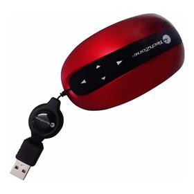 Mouse Óptico Retráctil Touch Mini Tech Zone Tzmit01 Rojo