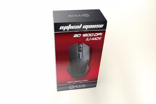 mouse optico usb 1200 dpi alambrico 3d nuevo u-m01 sa
