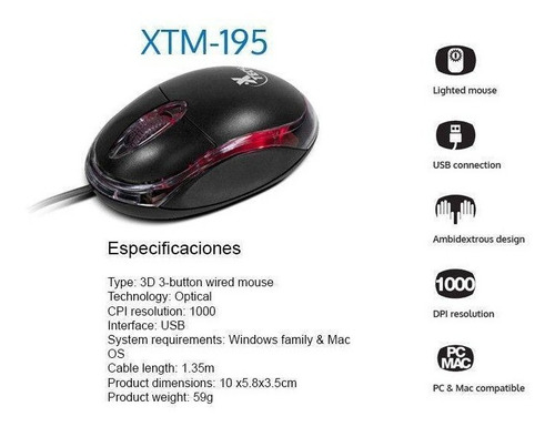 mouse optico xtech usb 1000 dpi negro xtm195 mac pc notebook