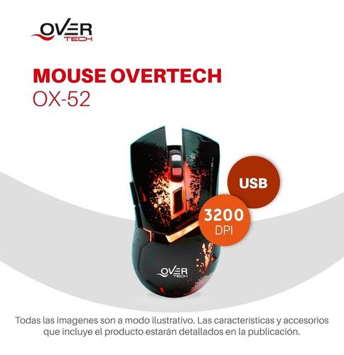 mouse overtech ox-52 gamer usb led luz dpi pc
