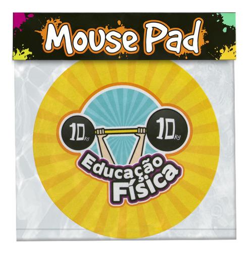 mouse pad emborrachado profissão educação física redondo