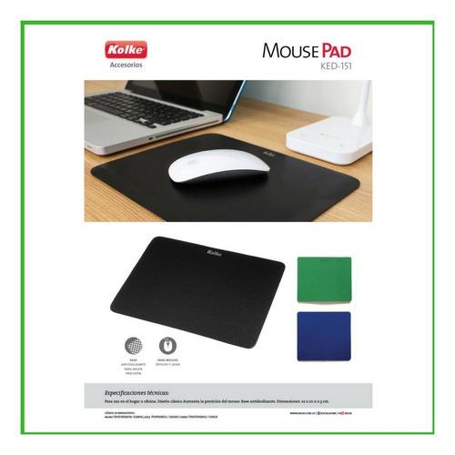 mouse pad kolke liso tela antideslizante color azul o negro