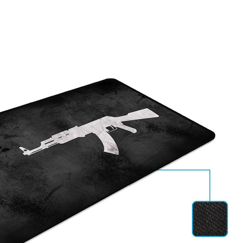 mouse pad rise gaming ak47 - extended - borda costurada