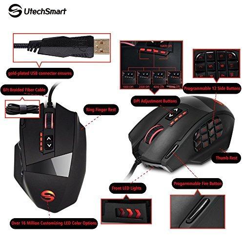 mouse para juegos utechsmart venus, 16400 dpi, alta