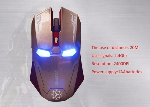 mouse raton inalambrico iron man estilo gamer 2400 dpi