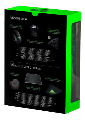mouse razer abyssus 2000 & mousemat  goliathus speed terra