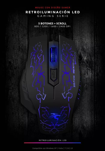 mouse sentey gs-3300 galactik gaming 2400dpi 6 botones black
