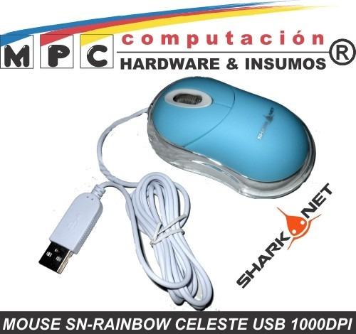 mouse sn-rainbow celeste usb 1000dpi c/cable luminoso pc mac