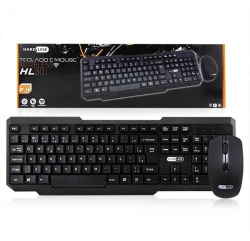 mouse + teclado sem fio na cor preto wi fi sensor óptico