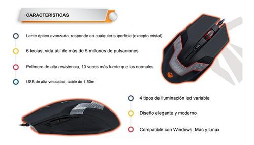 mouse usb gamer meetion gaming serie mt-m940 retroiluminado