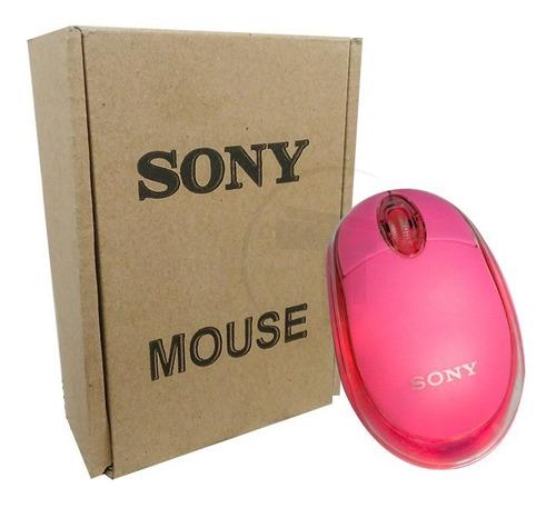 mouse usb optico sony usb led color rosado