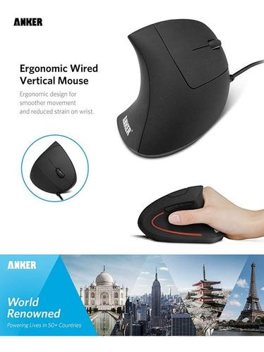 mouse vertical - anker - usb - ergonomico - 1000 /1600 dpi