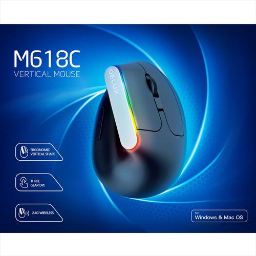 mouse vertical ergonómico inalámbrico delux m618gx 6 botones
