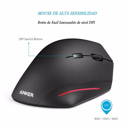 mouse vertical inalambrico ergonomico optico anker