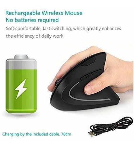 mouse vertical7lucky recargable 2,4ghz óptico