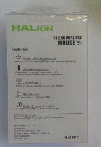 mouse wireless halion rex ha-m720 marron/rojo nuevo