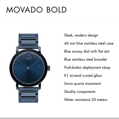 Pvd Con Hombres Bold Reloj Un S Plano Evolución Azul Movado b6yfgY7