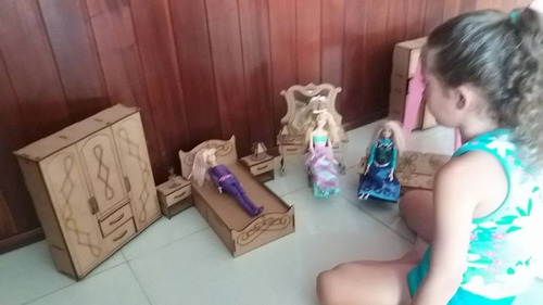 moveis boneca barbie princesas  dormitorio mdf p/casinha 1/6
