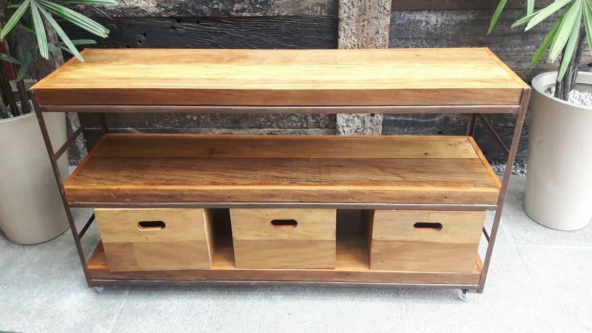 M vel aparador industrial madeira e ferro 3 caixas - Aparador industrial ...