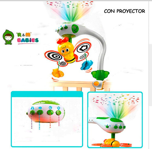 movil bebe cuna practicuna con proyector musical