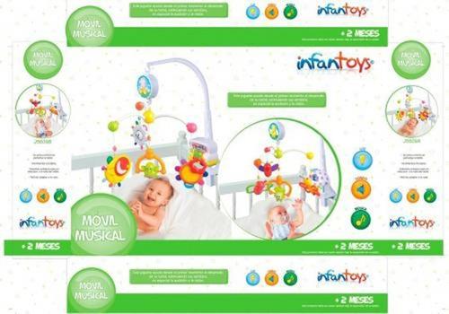 móvil bebe cunero musical con luz sonidos infantoys a cuerda