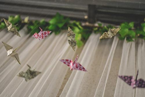 movil colgante grullas de papel de origami