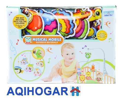 movil de cuna musical giratorio a cuerda para bebe