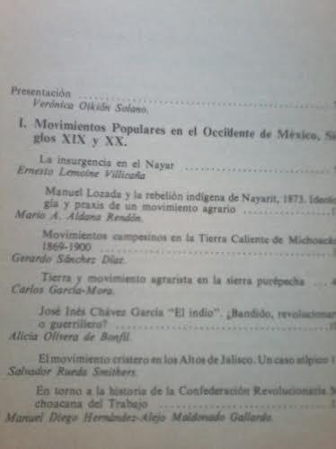 movimientos populares en el occidente de méxico s. xix y xx