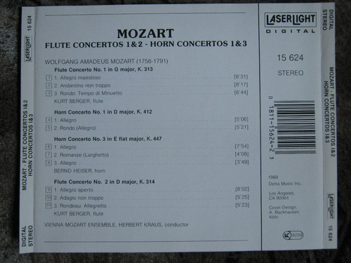 mozart - flute & horn  concertos - h. kraus