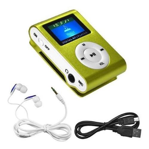 mp3 clip led shuffle radio fm, con ranura micro sd. mp4