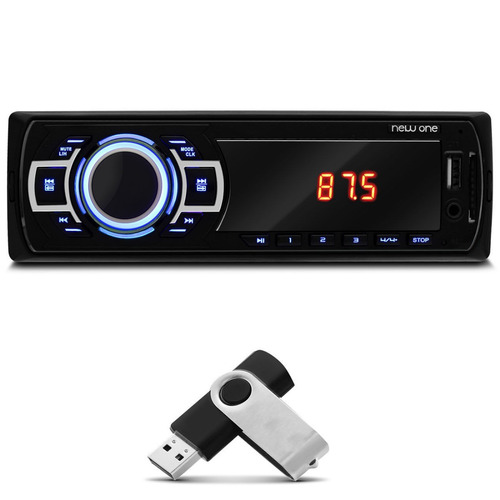 mp3 player multilaser new one p3318 usb aux + pen drive 8gb