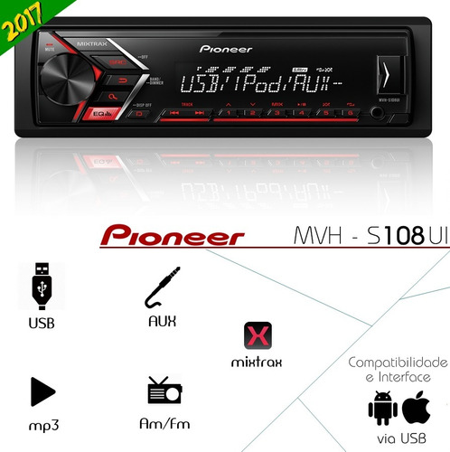 mp3 player pioneer mvh-x198ui/108 mixtrax usb media receiver