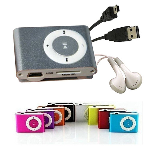 mp3 reproductor shuffle clip audifonos + cable usb deportivo