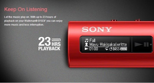 mp3 sony walkman nwz-b183 flash-media 4gb fm lcd original